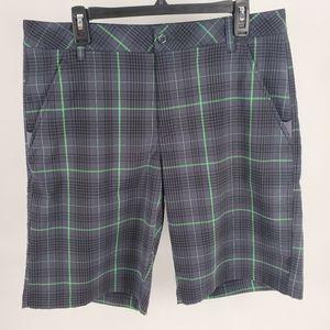 Fila Golf Flat front black green plaid shorts 34